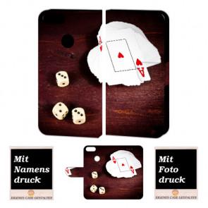 One Plus 5 Handy Hülle Tasche mit Spielkarten - Würfel + Foto + Text Druck