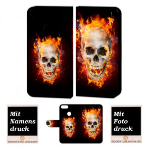 Huawei P Smart Handy Hülle Tasche mit Totenschädel - Feuer + Foto Text Druck