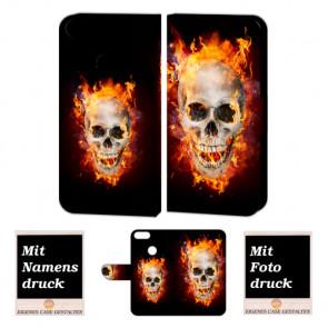 One Plus 5 Handy Hülle Tasche mit Totenschädel - Feuer + Bild +Text + Druck Etui