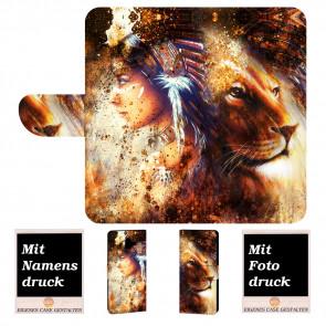 Samsung Galaxy J8 (2018) Handyhülle mit Indianer - Löwe - Gemälde Fotodruck