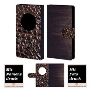 Nokia Lumia 1020 Holz-croco Optik Handy Tasche Hülle Foto Bild Druck