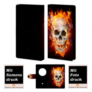 Nokia Lumia 1020 Handyhülle mit Totenschädel - Feuer + Bilddruck Text