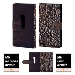 Nokia Lumia 920 Croco-Holz Optik Handy Tasche Hülle Foto Bild Druck