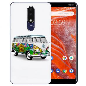 Silikon Schutzhülle TPU für Nokia 3.1 Plus mit Bild druck Hippie Bus Etui