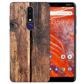 Silikon Schutzhülle TPU für Nokia 3.1 Plus mit Bild druck HolzOptik