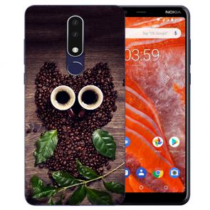 Silikon Schutzhülle TPU für Nokia 3.1 Plus mit Bilddruck Kaffee Eule