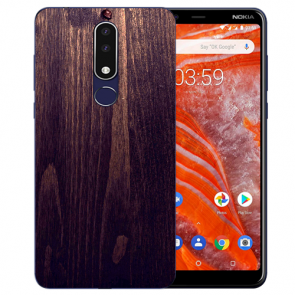 Silikon TPU Hülle für Nokia 3.1 Plus mit Bild druck HolzOptik Dunkelbraun