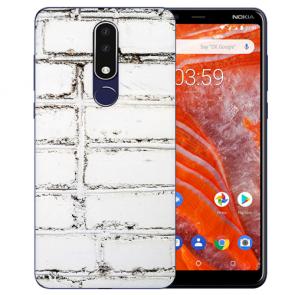 Silikon TPU Hülle für Nokia 3.1 Plus mit Bild druck Weiße Mauer Etui