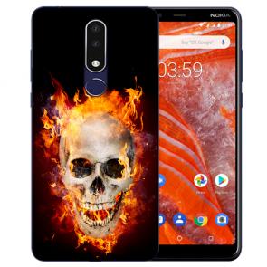 Nokia 3.1 Plus Silikon Schutzhülle TPU mit Bild druck Totenschädel Feuer