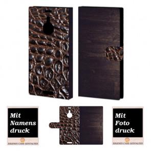 Nokia Lumia 1520 Holz - Croco Optik Handy Tasche Hülle Foto Bild Druck
