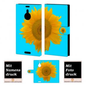 Handyhülle für Nokia Lumia 1520 mit Sonnenblumen + Bilddruck