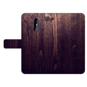 Handy Hülle für Nokia 3.2 mit Fotodruck HolzOptik Dunkelbraun