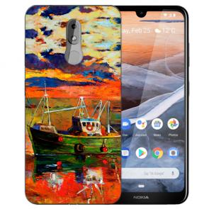 Silikon TPU Handy Hülle für Nokia 3.2 mit Bilddruck Gemälde Etui