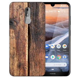 Silikon TPU Handy Hülle mit Bilddruck HolzOptik für Nokia 3.2 Etui