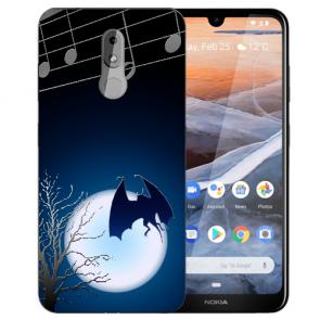 Silikon TPU Handy Hülle für Nokia 3.2 mit Fledermaus-mond Bilddruck