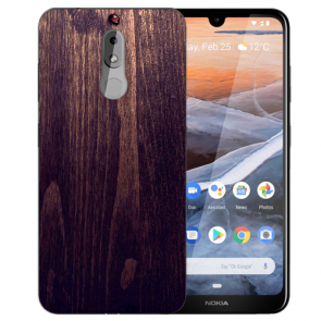Silikon TPU Handy Hülle mit Bilddruck HolzOptik Dunkelbraun für Nokia 3.2