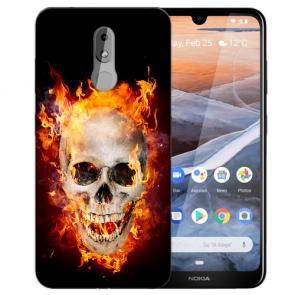 Silikon TPU Handy Hülle mit Bilddruck Totenschädel Feuer für Nokia 3.2