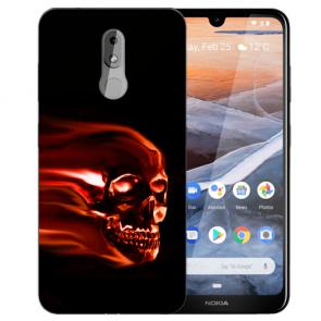Silikon TPU Handy Hülle mit Bilddruck Totenschädel für Nokia 3.2 Etui