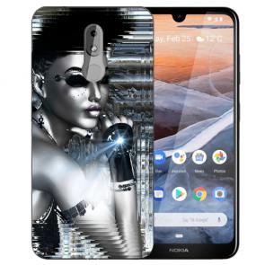 Silikon TPU Handy Hülle für Nokia 3.2 Case mit Bilddruck Robot Girl