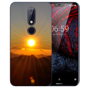 Nokia 6.1 Plus (2018) Silikon TPU Hülle mit Fotodruck Sonnenaufgang