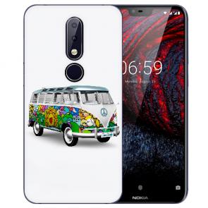 Nokia 6.1 Plus (2018) Silikon TPU Hülle mit Fotodruck Hippie Bus Etui