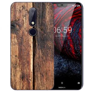 Silikon TPU Handy Hülle mit Bilddruck HolzOptik für Nokia 6 Schutzhülle