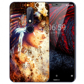 Nokia 6.1 Plus (2018) Silikon TPU Hülle mit Fotodruck Indianerin Porträt