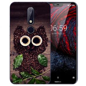 Nokia 6.1 Plus (2018) Silikon TPU Hülle mit Fotodruck Kaffee Eule