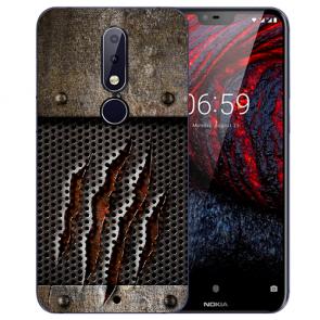 Nokia 6.1 Plus (2018) Silikon TPU Hülle mit Fotodruck Monster-Kralle