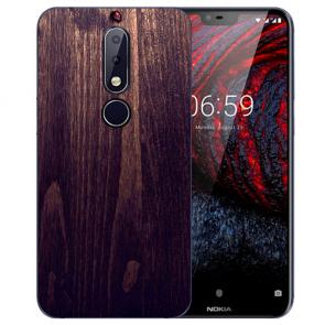Nokia 6.1 Plus (2018) TPU Hülle mit Fotodruck HolzOptik Dunkelbraun