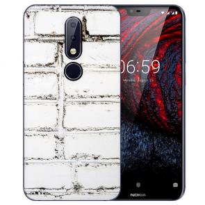 Nokia 6.1 Plus (2018) TPU Hülle mit Fotodruck Weiße Mauer