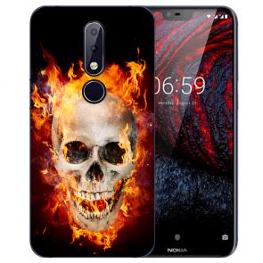 Nokia 6.1 Plus (2018) Silikon TPU Hülle mit Fotodruck Totenschädel Feuer