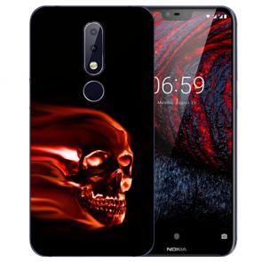 Nokia 6.1 Plus (2018) Silikon TPU Hülle mit Fotodruck Totenschädel