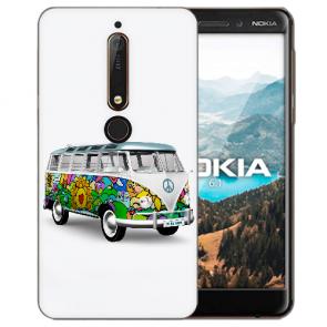 Silikon Handy Hülle mit Bilddruck Hippie Bus für Nokia 6.1 (2018) Schutzhülle