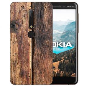 Silikon TPU Handy Hülle mit Bilddruck HolzOptik für Nokia 6.1 (2018)