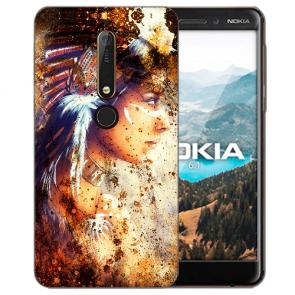 Nokia 6.1 (2018) Silikon Handy Hülle mit Bilddruck Indianerin Porträt