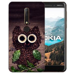 Silikon TPU Handy Hülle mit Bilddruck Kaffee Eule für Nokia 6.1 (2018)