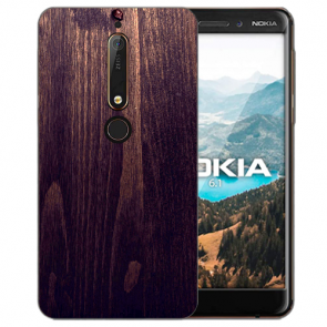 Nokia 6.1 (2018) Silikon TPU Hülle mit Bilddruck HolzOptik Dunkelbraun