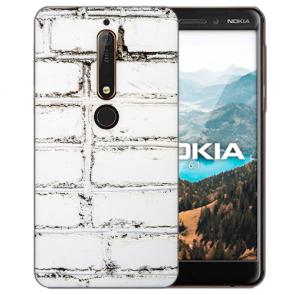 Weiße Mauer mit Bilddruck für Nokia 6.1 (2018) Silikon TPU Hülle