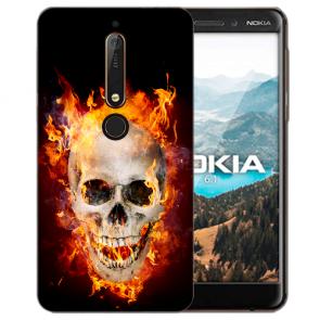 Nokia 6.1 (2018) Silikon Handy Hülle mit Bilddruck Totenschädel Feuer