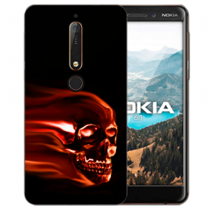 Silikon TPU Handy Hülle mit Bilddruck Totenschädel für Nokia 6.1 (2018)
