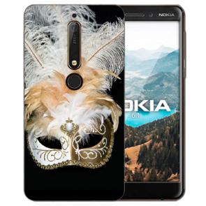 Silikon Handy Hülle mit Bilddruck Venedig Maske für Nokia 6.1 (2018)