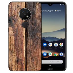 Schutzhülle Silikon TPU Hülle mit Bild Druck HolzOptik für Nokia 7.2