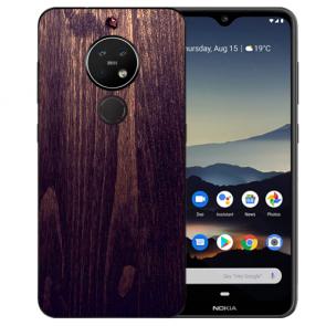 Nokia 7.2 Schutzhülle Silikon TPU Hülle mit Bild Druck HolzOptik Dunkelbraun