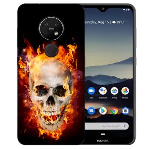Silikon TPU für Nokia 7.2 Etui mit Bild Druck Totenschädel Feuer