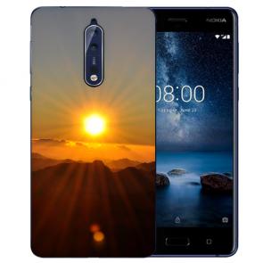 Nokia 8 TPU Hülle mit Fotodruck Sonnenaufgang Etui