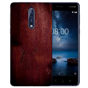 Nokia 8 TPU Hülle mit Fotodruck HolzOptik Dunkelbraun Etui