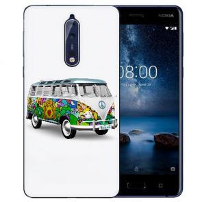 Nokia 8 TPU Hülle mit Fotodruck Hippie Bus Etui
