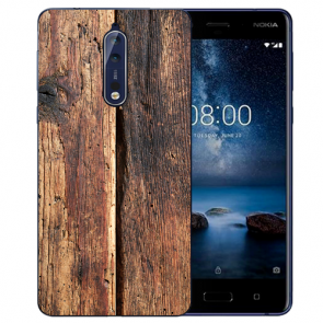 Nokia 8 TPU Hülle mit Fotodruck HolzOptik Etui