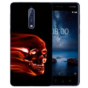 Nokia 8 TPU Hülle mit Fotodruck Totenschädel Etui
